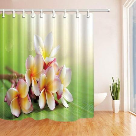 BPBOP Spa Spring Flowers on Green Leaves Polyester Fabric Bath Curtain, Bathroom Shower Curtain 66x72 (Spa Fabric Shower)