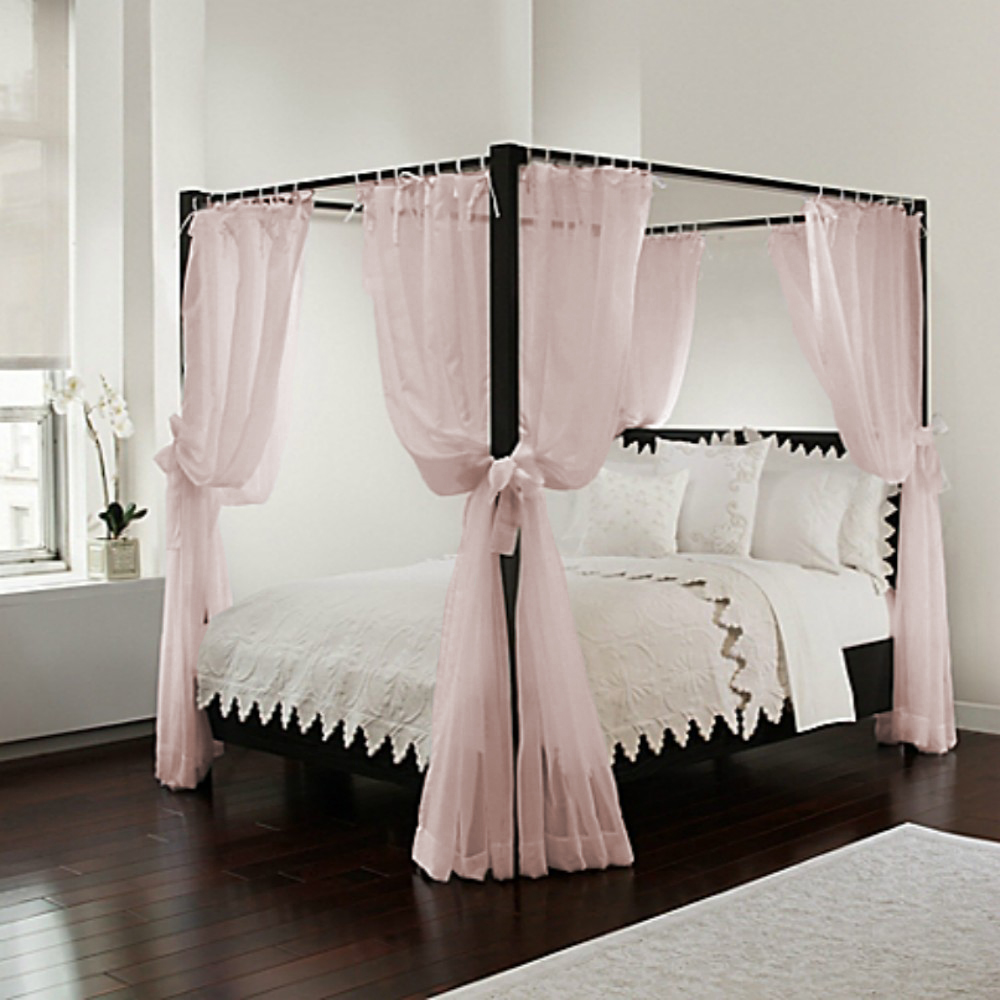 - Bed Canopy White Sheer Panels, Complete 8 Piece Set With Tie Backs