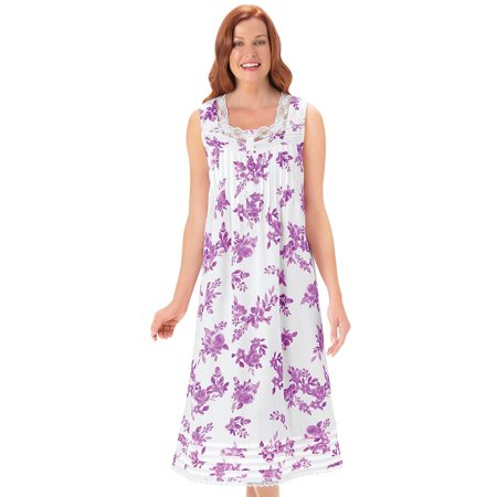 Pintuck Gown (Women's Lavender Floral Print Pintuck Sleeveless Nightgown with Lace Trim Sweet Heart Neckline, Medium, Lavender )