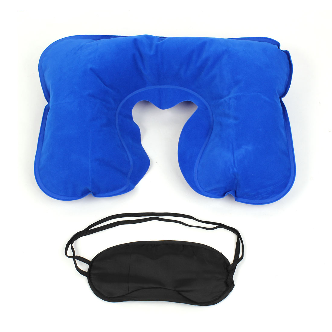 Unique Bargains Travel Home Rest Blue Inflating Air Pillow Eye Mask w Eyeplug 3 in 1 Set