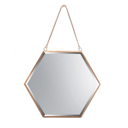 Koyal Wholesale Rose Gold Beveled Hexagon Mirror for Wall Decor, Modern Hanging Home Décor, 12 Inch Wall Mirror