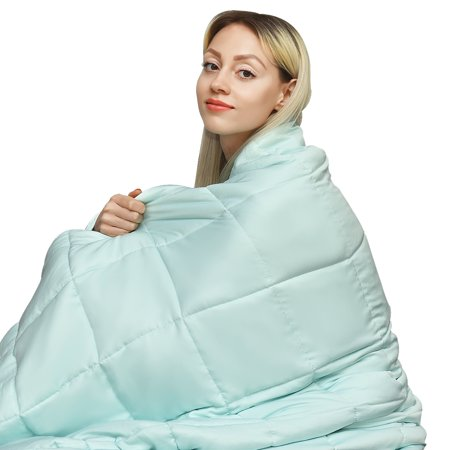 Gymax 7-20 lbs Cooling Weighted Blanket Luxury Cooler Version Cotton & Glass Beads Maple Blanket Chest