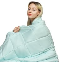 Gymax 7-20 lbs Cooling Weighted Blanket Luxury Cooler Version Cotton & Glass Beads