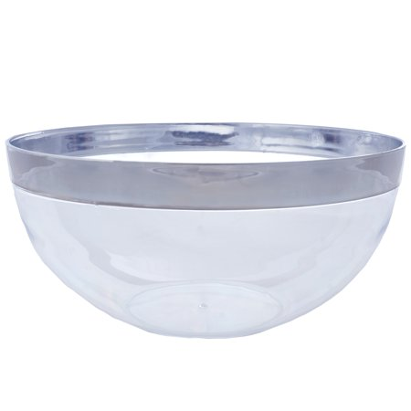 BalsaCircle 4 pcs 2 qt Disposable Silver Rimmed Clear Plastic Bowls