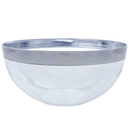 BalsaCircle 4 pcs 2 qt Disposable Silver Rimmed Clear Plastic - Clear Plastic Bowl