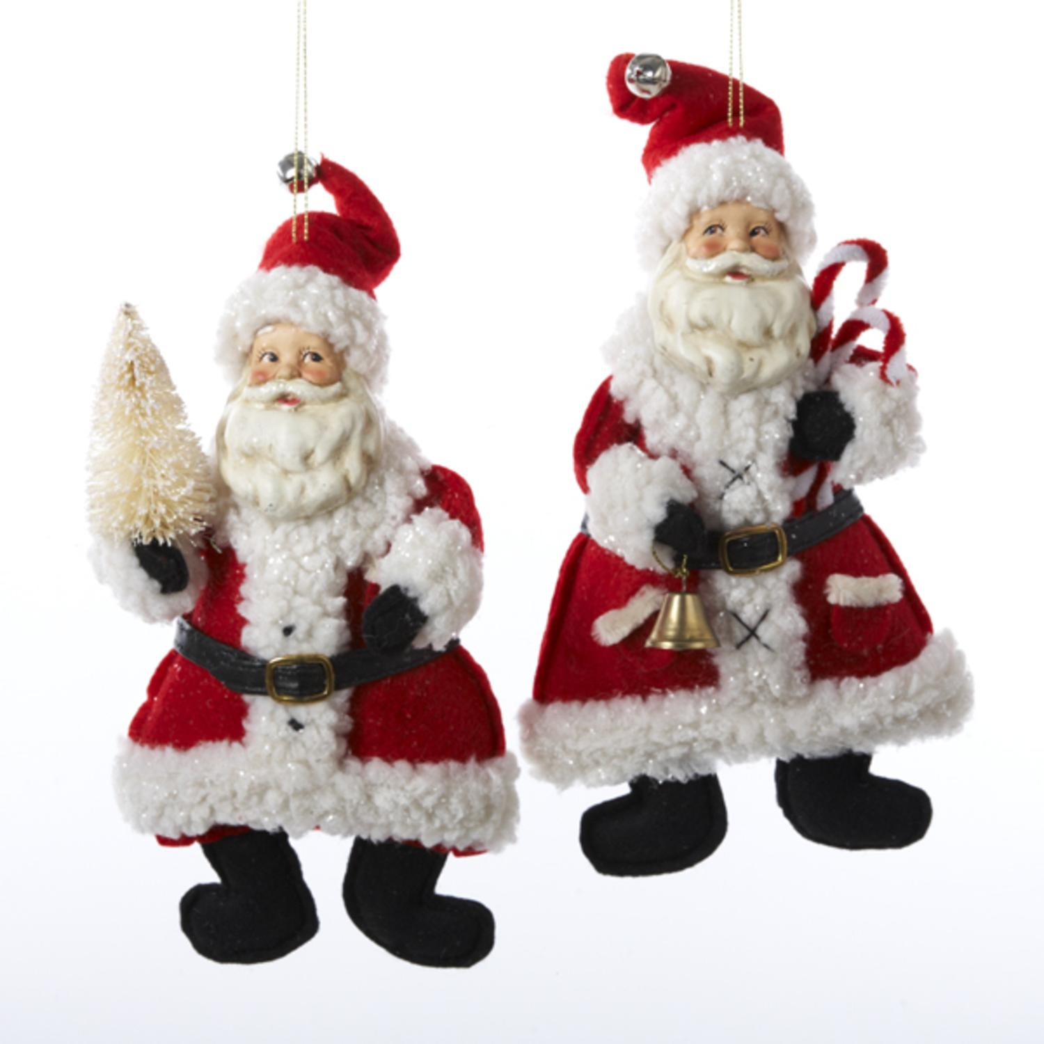 6 Santa Claus Classics Holding a Bell or Tree Christmas Figure Ornaments 9""