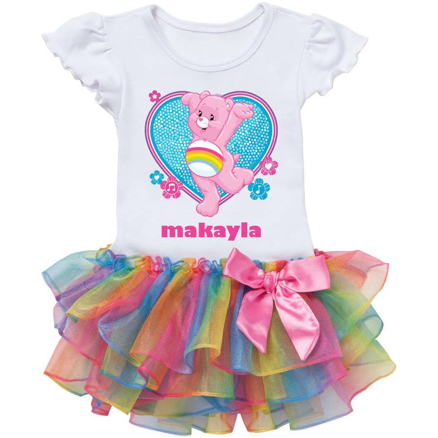 Personalized Care Bears Cheer Bear Dance Rainbow Tutu Tee