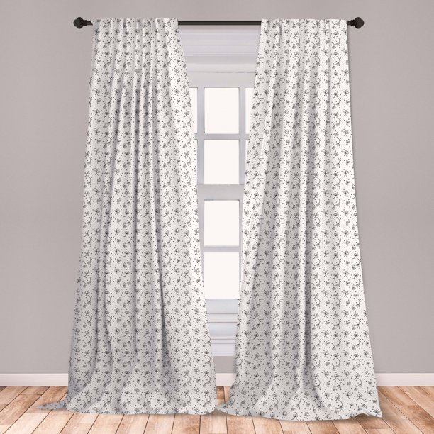 Black And White Curtains 2 Panels Set Abstract Dandelions Flying In The Air Monochrome Curly Stems And Dots Window Drapes For Living Room Bedroom Black White By Ambesonne Walmart Com Walmart Com