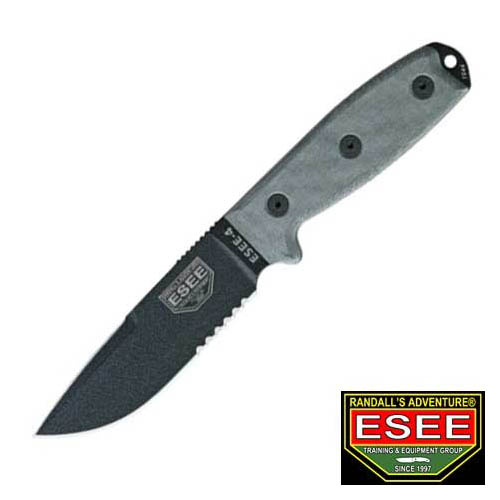 ESEE Knives 4SCPMB Part Serrated Model 4 Fixed Blade Knife with Black Linen Micarta Handles Multi-Colored