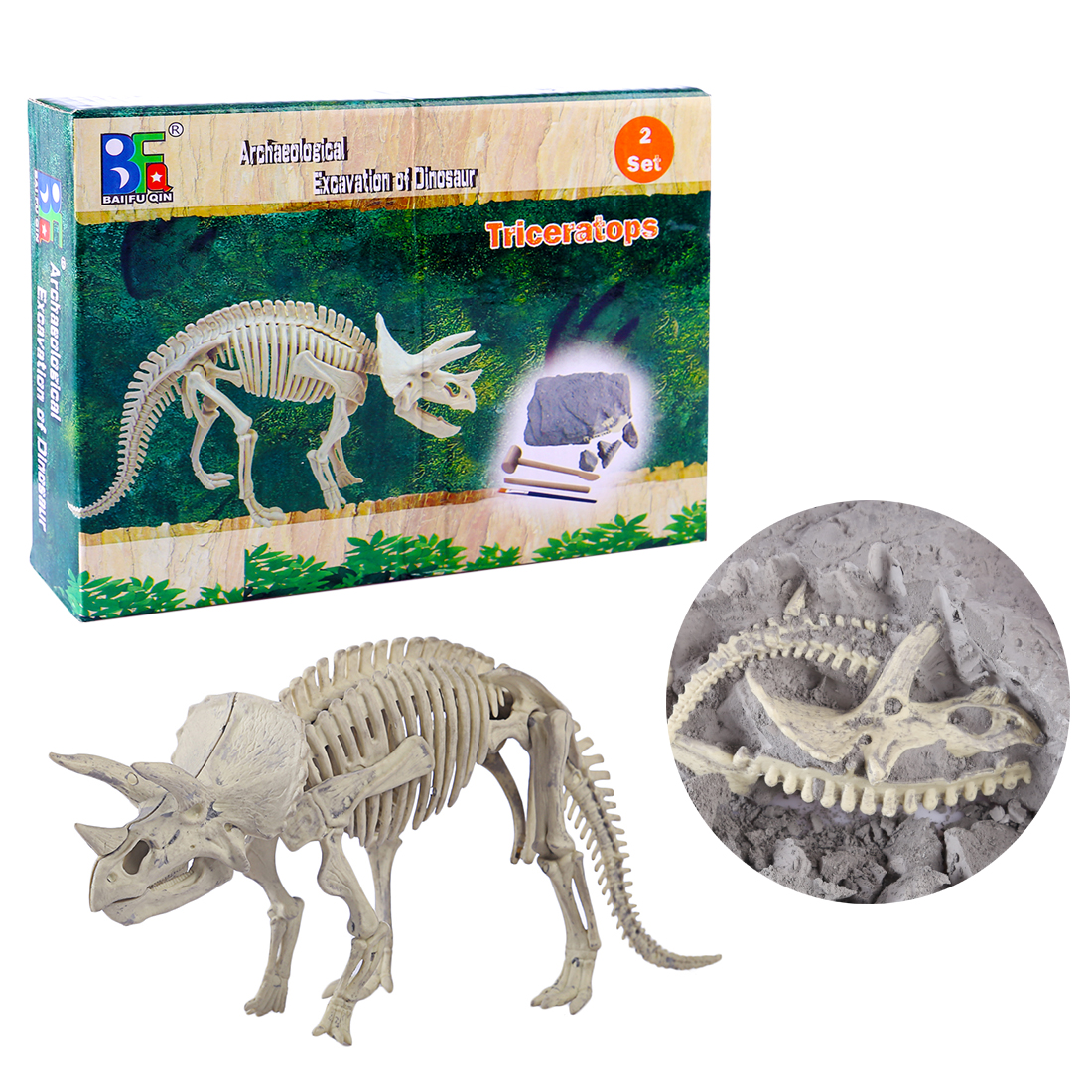 Children Creative Educational Dinosaur Archaeology Excavation Toys - Triceratops