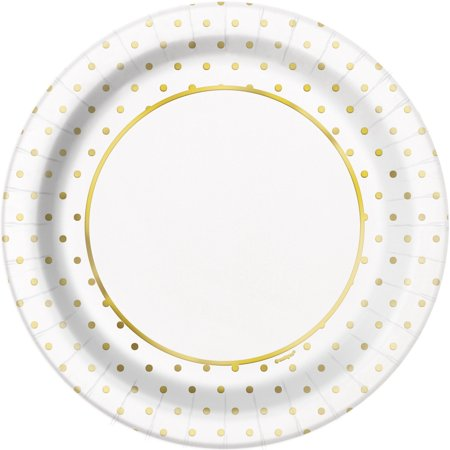 Foil Elegant Gold Polka Dot Paper Dinner Plates, 9 in, 8ct (Solid Color Paper Plates)