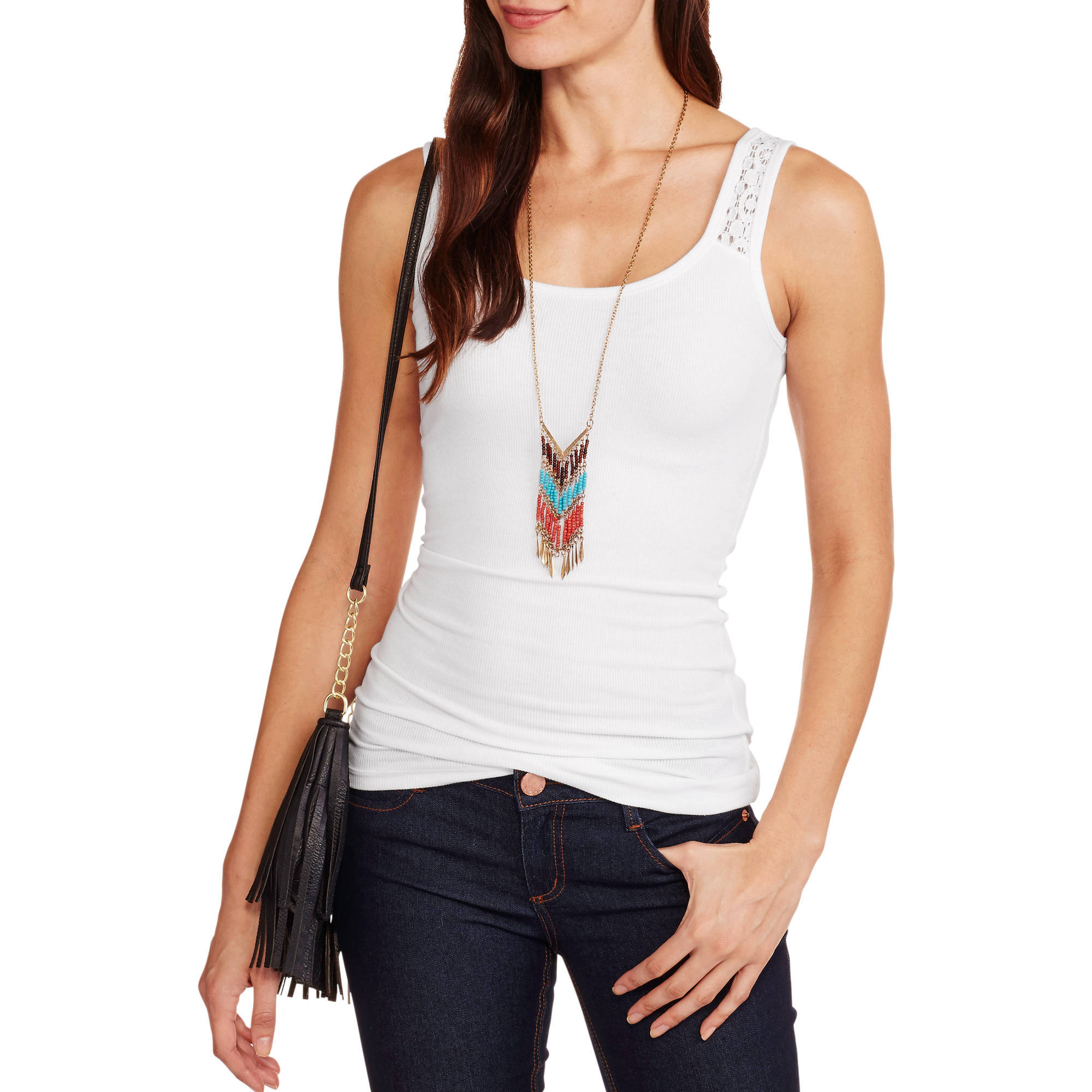 Faded Glory Women's Tank with Lace Inset