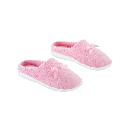Pink Insoles - Slip On Slippers with Bow - Quilted Upper, Padded  Insoles, Large, Pink