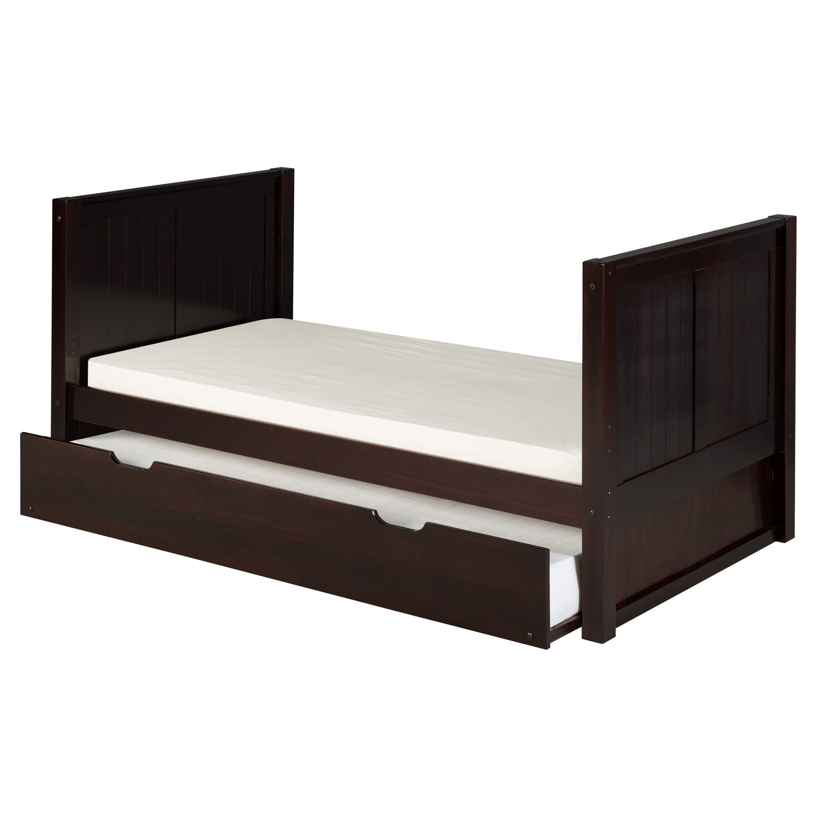 Camaflexi Twin Size Tall Platform Bed with Twin Trundle - Panel Headboard - Cappuccino Finish