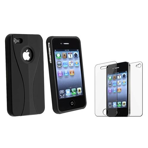 INSTEN NEW BLACK 3-PIECE HARD CASE COVER FOR AT&T VERIZON SPRINT Apple iPhone 4S 4G S