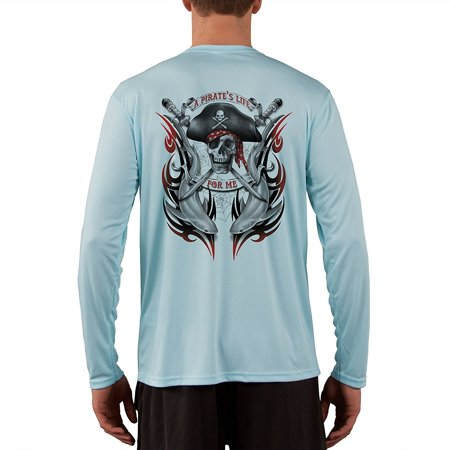 Pirate Life With Sharks Men's UPF 50+ UV/Sun Protection Long Sleeve - Pirate Apparel