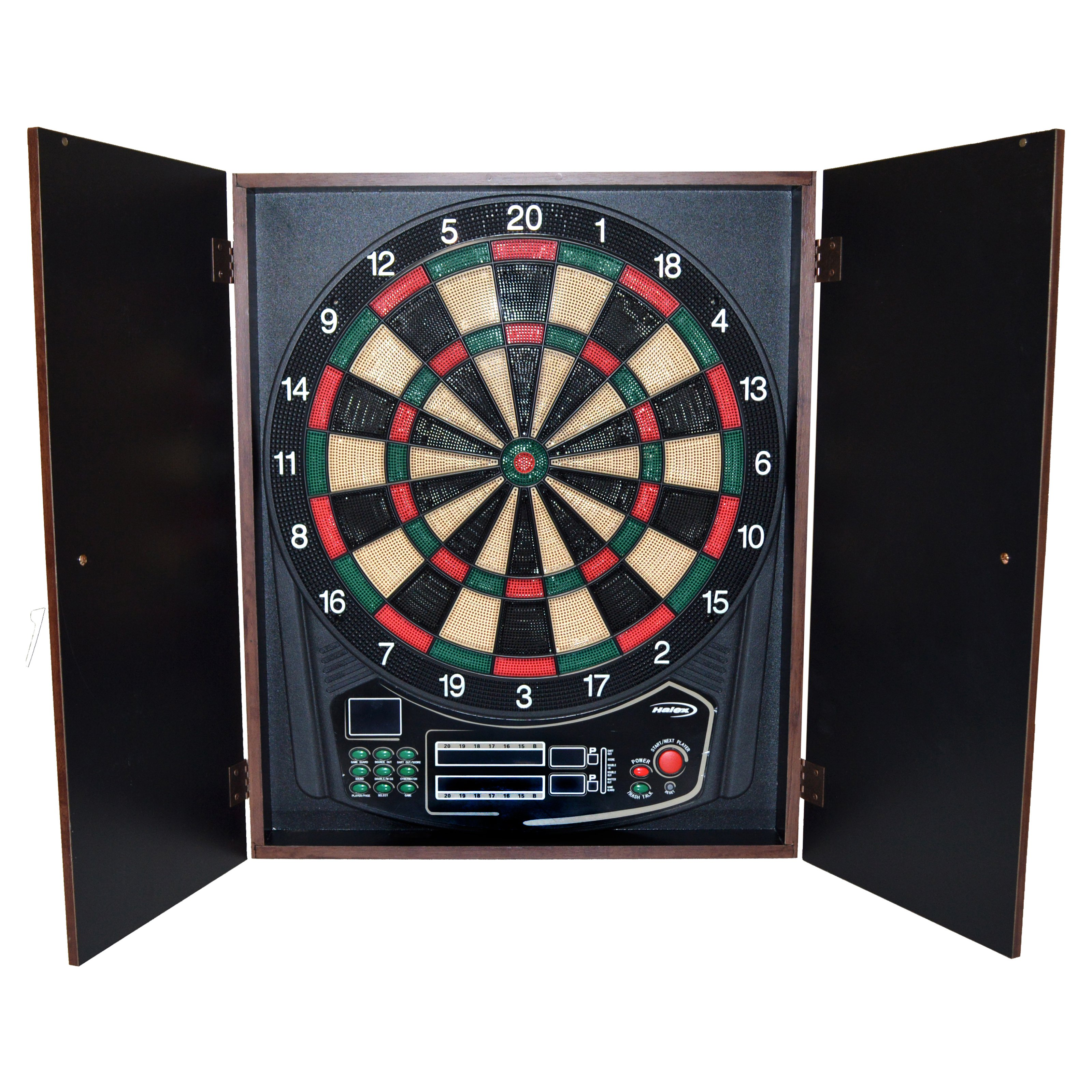 Halex Omega Electronic Dartboard with Wooden Cabinet