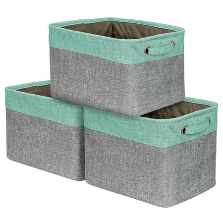 Big Apple Storage (Sorbus Storage Large Basket Set [3-Pack] - 15 L x 10 W x 9 H - Big Rectangular Fabric Collapsible Organizer Bin Carry Handles Linens, Towels, Toys, Clothes, Kids Room,)
