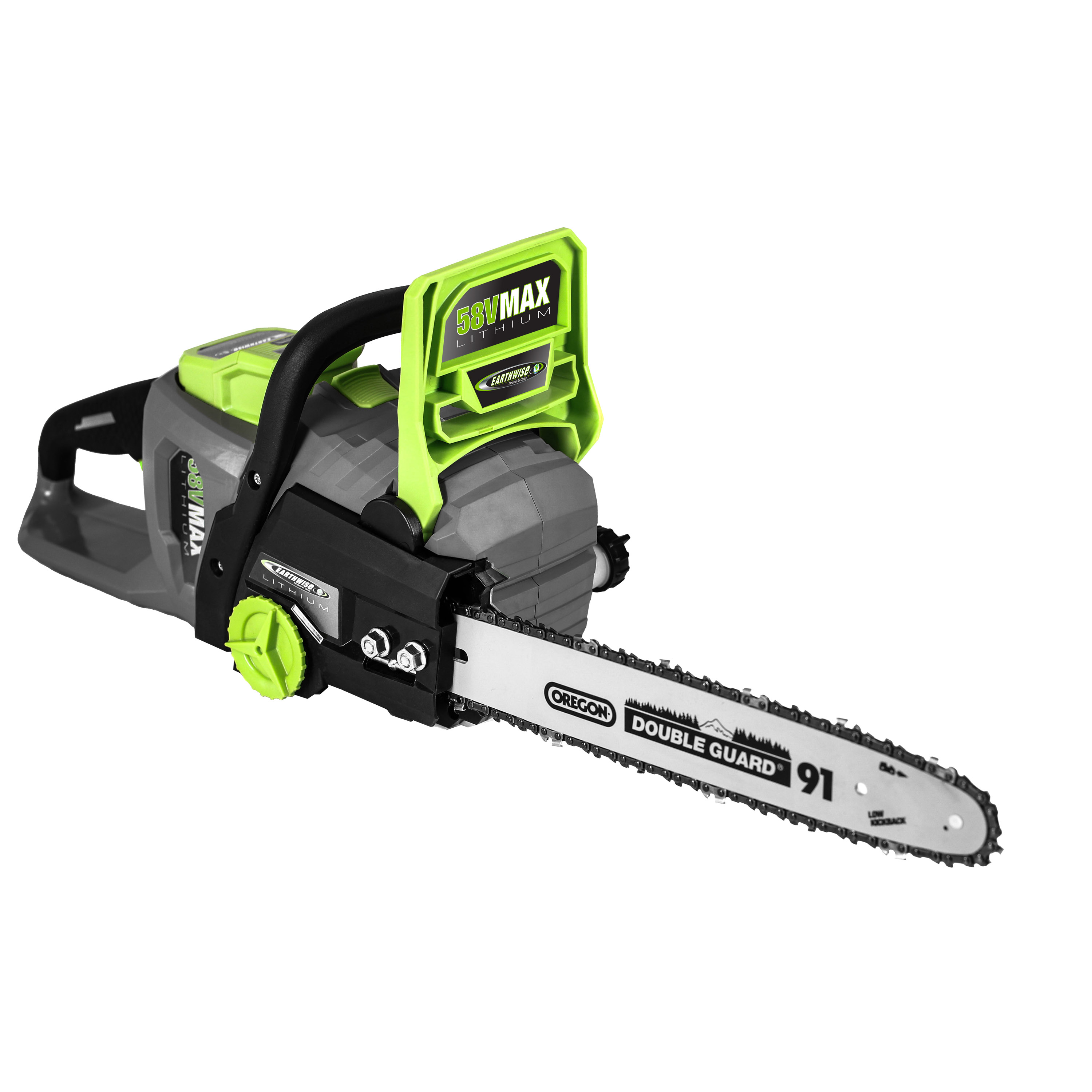"Earthwise LCS35814 14"" 58-Volt Cordless Chainsaw, Brushless Motor (2Ah Battery and Charger Included) by Great States Corporation"
