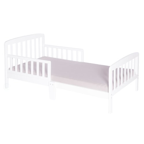 Classic Wooden Boys Girls Toddler Kids Bed Frame with Double Adjustable Guard Rails, White with Mattress Included