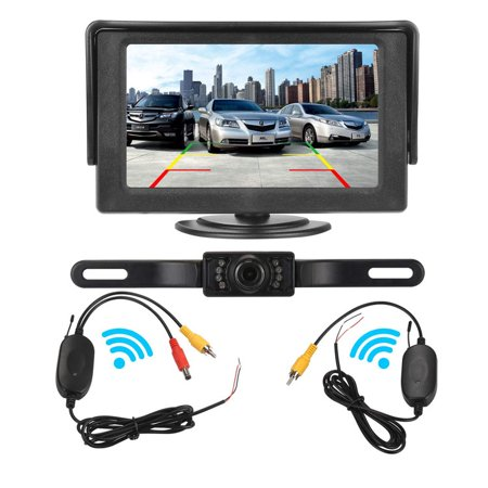 Wireless Backup Camera for Car and Monitor kit Waterproof Night Vision License Plate Camera with 7 Infrared (IR) LED Rear View Camera 4.3 Inches Display ()