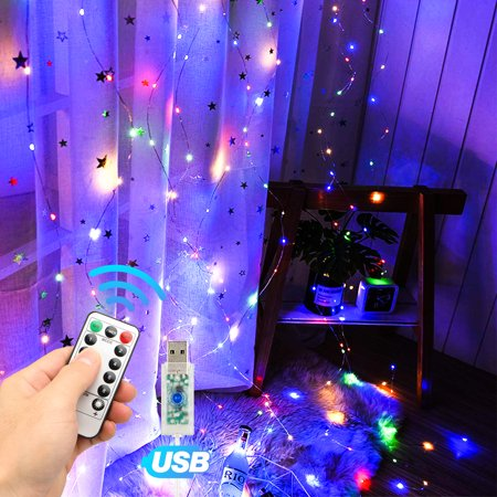TSV Curtain String Lights,300LEDs 9 8x9 8Ft,USB Powered Fairy Lights,IP67  Waterproof & 8 Modes Twinkle Christmas Lights for Trees Bedroom Wedding