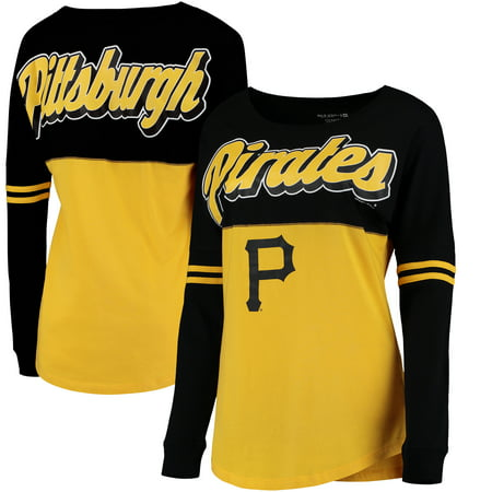 Pittsburgh Pirates 5th & Ocean by New Era Women's MLB Baby Jersey Varsity Crew Boyfriend Long Sleeve T-Shirt - Gold