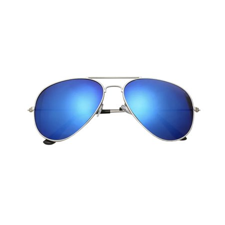 AVIATOR SUNGLASSES - SILVER FRAME WITH BLUE FLASH MIRRORED LENSES - POLARIZED VINTAGE FASHION STYLE MIRRORED SHADES FOR WOMEN AND MEN Silver Frame Platinum Mirror Lens