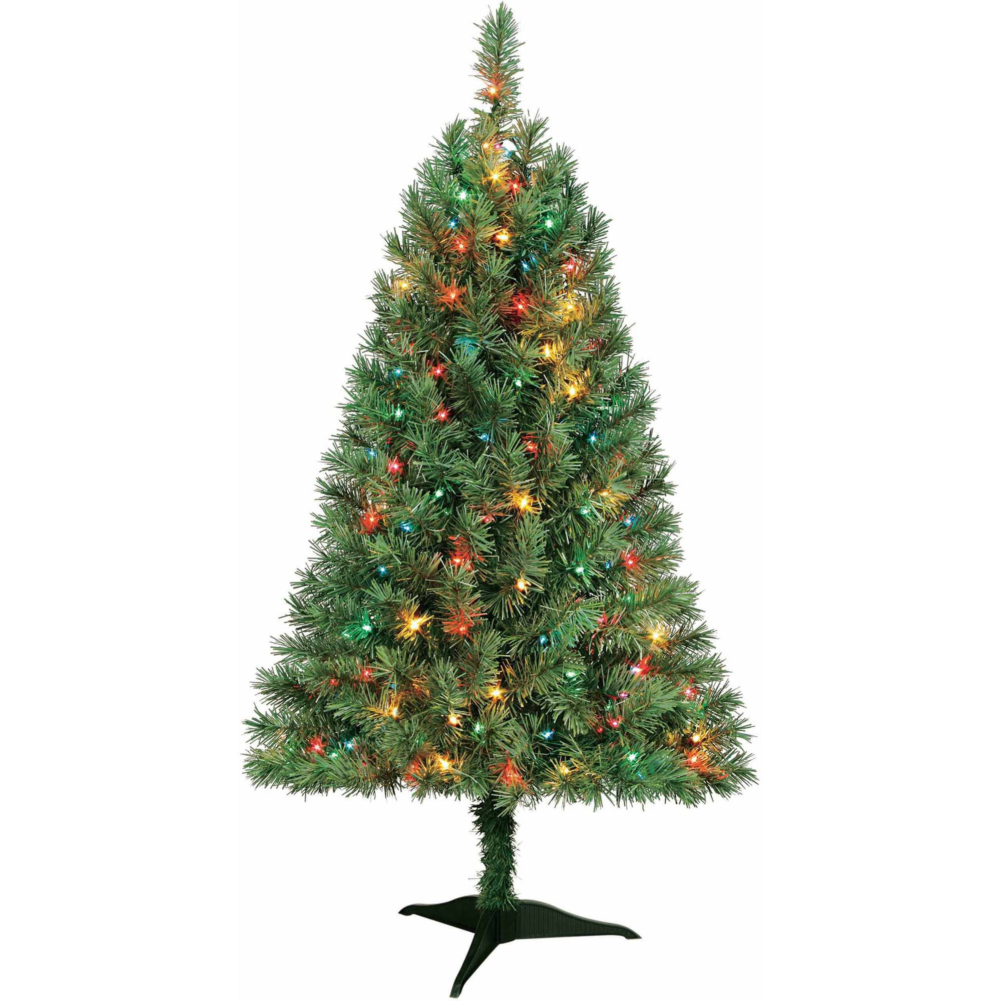 Artificial Christmas Tree Pre-Lit 4' Indiana Spruce, Multi Lights ...