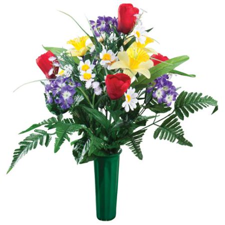 "Bright Spring Memorial Bouquet by OakRidge™ -- Silk Floral Indoor/Outdoor Décor, 23"" (Striking Spring Bouquet)"