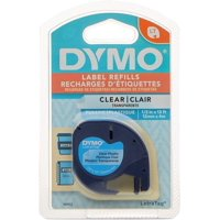 DYMO Labeling Tape for LetraTag Label Makers, Black Print on Clear Labels, 1/2-Inch x 13-Foot Roll