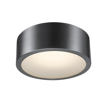 Globe Electric Edinburg Black Iron LED Integrated Flush Mount Ceiling Light with Frosted Glass Shade, 60304