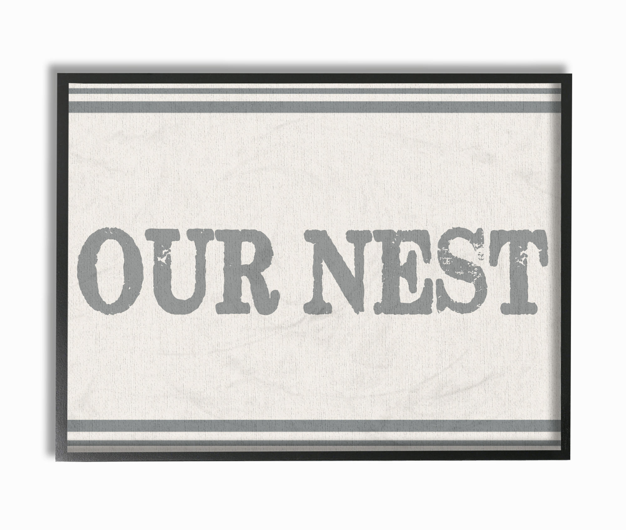 The Stupell Home Decor Collection Our Nest Flour Sack Typography Framed Giclee Texturized... by Stupell Industries