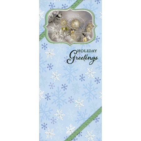 Designer Greetings Holiday Greetings on Blue with Snowflakes - Package of 8 Christmas Money / Gift Card Holders