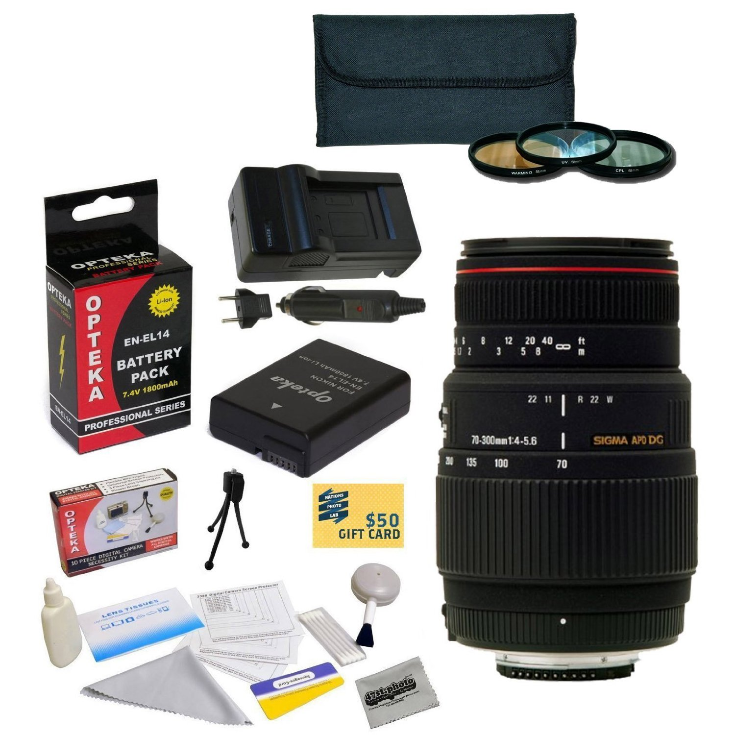 Sigma 70-300mm f/4-5.6 DG Macro Lens Kit for Nikon D3100,...