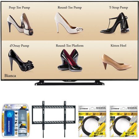 "Sharp 60"" Full HD Commercial LCD-LED TV (PN-LE601) with Xtreme TV/LCD Screen Cleaning Kit, Xtreme Ultra Slim Low Profile Flat Wall Mount for 60-100 Inch TVs &2x 6ft High Speed HDMI Cable Black"