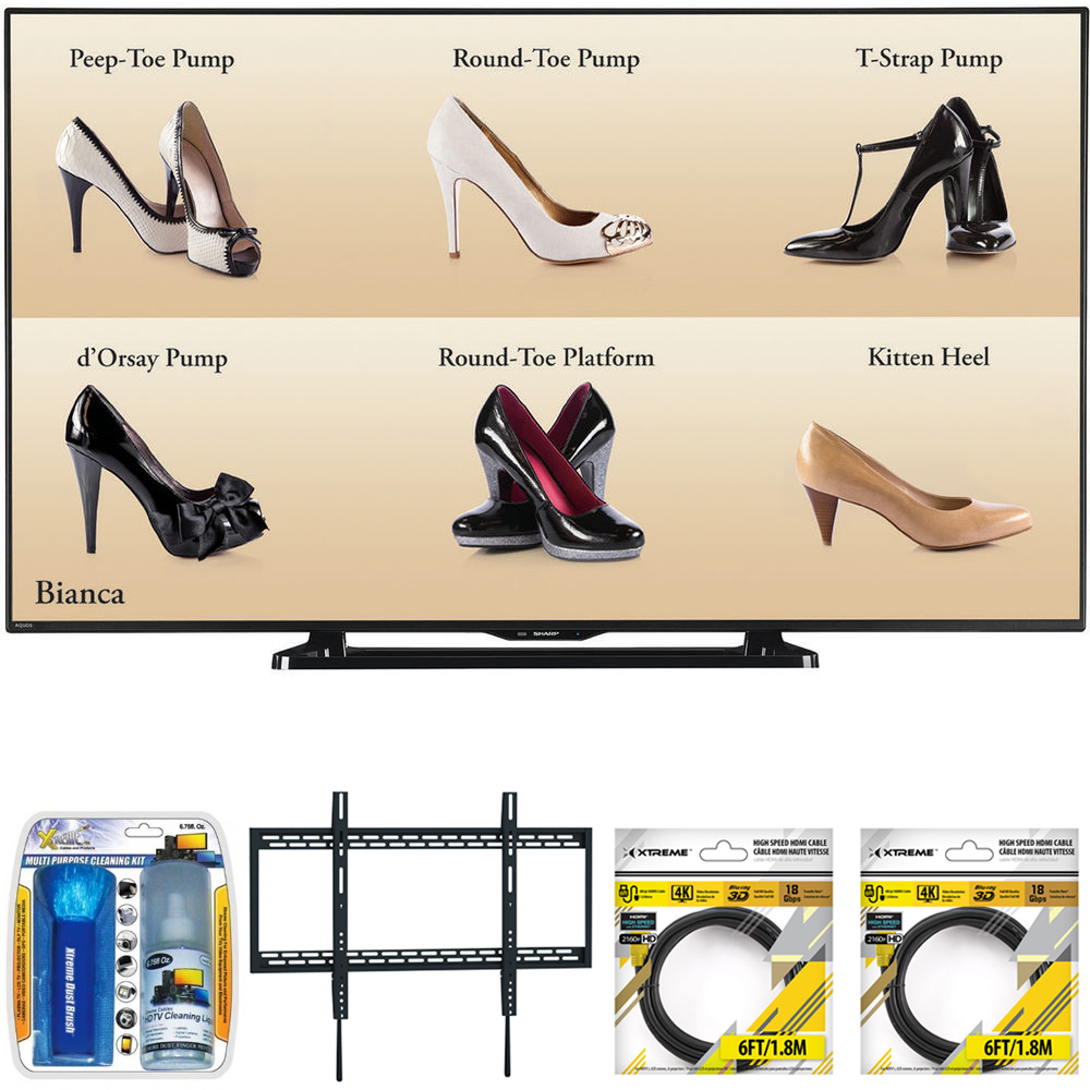"""Sharp 60"""" Full HD Commercial LCD-LED TV (PN-LE601) with Xtreme TV/LCD Screen Cleaning Kit, Xtreme Ultra Slim Low Profile Flat Wall Mount for 60-100 Inch TVs &2x 6ft High Speed HDMI Cable Black"""