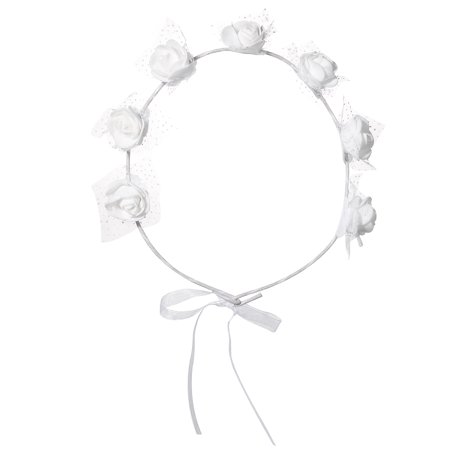 Lux Accessories White Ribbon Floral Flower Wreath Flower Crown Hair Accessory