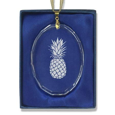 Christmas Pineapple - Oval Crystal Christmas Ornament - Pineapple