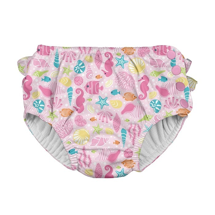 Ruffle Snap Reusable Absorbent Swimsuit Diaper-Pink Sealife - 3T