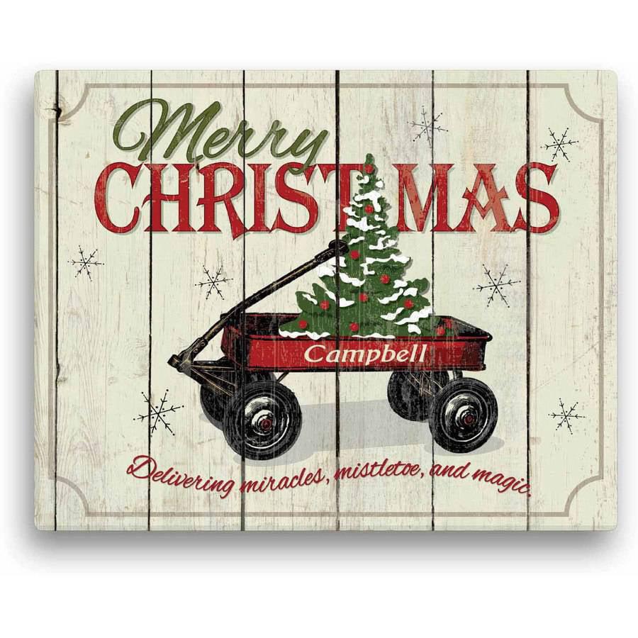"Personalized Christmas Wall Art - Christmas Wagon 11"" x 14"" Canvas"