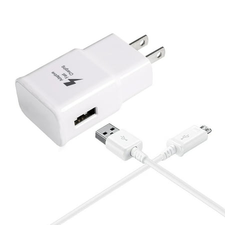 Adaptive Fast Charger Kit Compatible with Samsung Galaxy Express 3 Devices-[Wall Charger+5 FT Micro USB Cable]-AFC uses Dual voltages for up to 50% Faster Charging!-White - image 5 of 9
