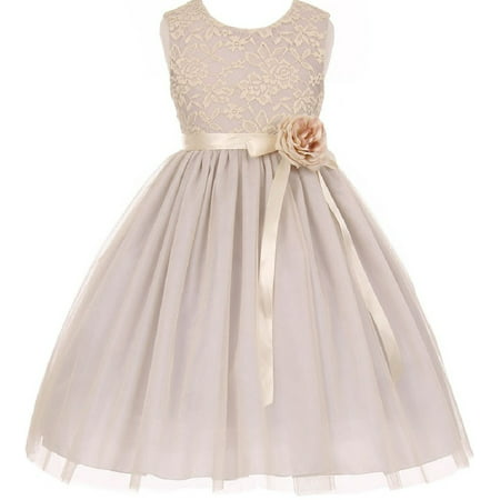2c2abcc00f BluNight Collection - Big Girl Two Tone Tulle Junior Bridesmaid Flower Girl  Dress Silver 10 - Walmart.com