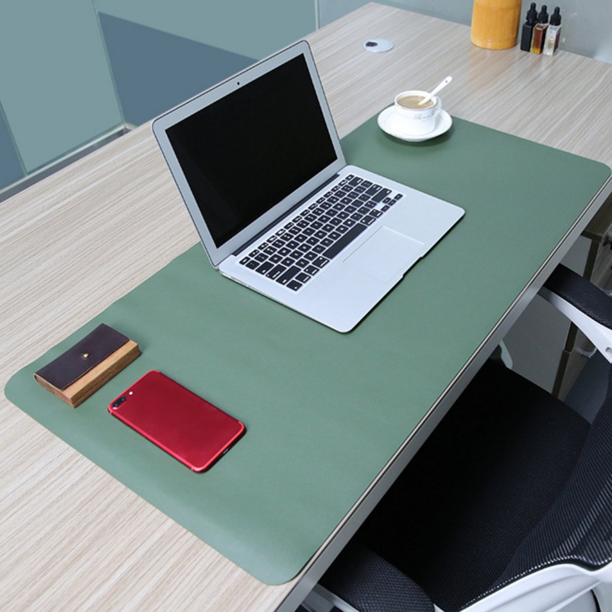 Meigar 90x45cm Both Sides Extended PU Leather Mouse Pad Office Computer Gaming Desk Mat