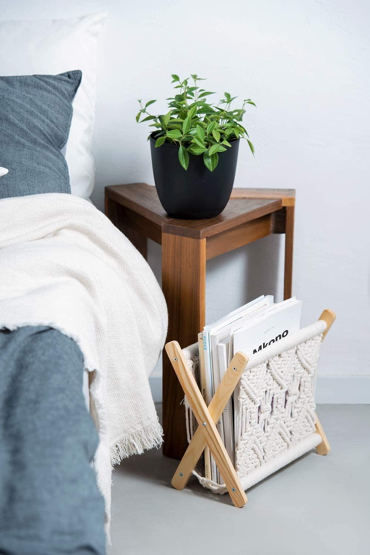 Boho Shelves for Towel Living Room Notebook Magazine Rack Boho Decor Tablets Office Newspapers Boho Wall Decor For Bedroom |14x13x10 In Chocolate Macrame Boho Magazine Holder Books