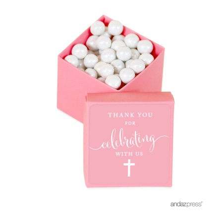 Baptism & Christening Square Party Favor Boxes, Thank You for Celebrating With Us, 20-Pack for $<!---->