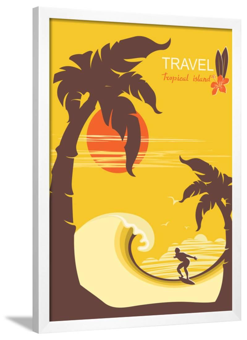 Tropical Paradise with Palms Island and Man Surfer.Vector Background ...