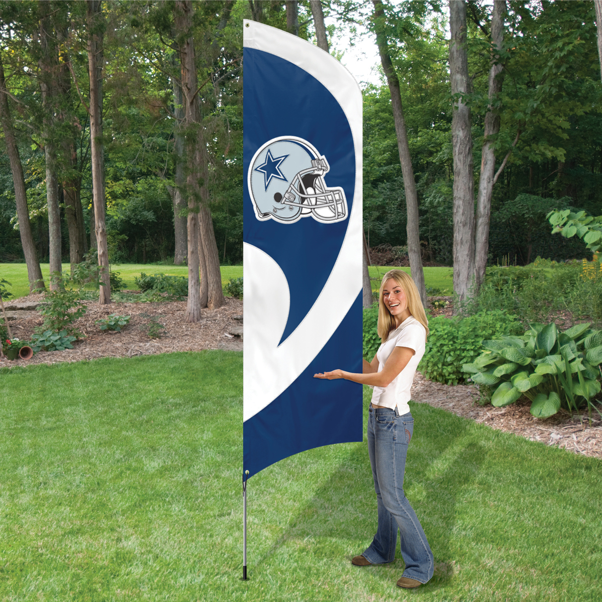 "Party Animal Cowboys Tall Team Flag - 102"" x 30"" - Heavyweight, Weather Resistant, Embroidered, Durable, Applique - Nylon"