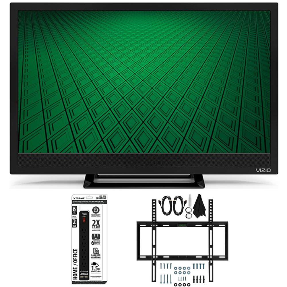 Vizio D24hn-D1 - D-Series 24-Inch Edge-Lit LED TV Slim Flat Wall Ultimate Bundle