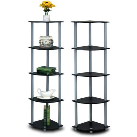 Furinno 99811 Turn-N-Tube 5-Tier Corner Multipurpose Display Shelves, Multiple Colors